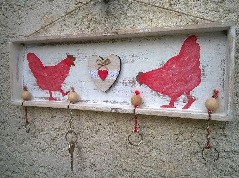 accroche clefs les poules esprit vintage