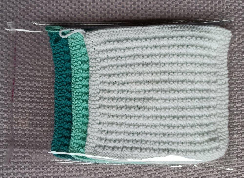 3 lavettes zéro déchet, tawashi, lingette durable, carré lavable, réutilisable, dishcloth, washcloth