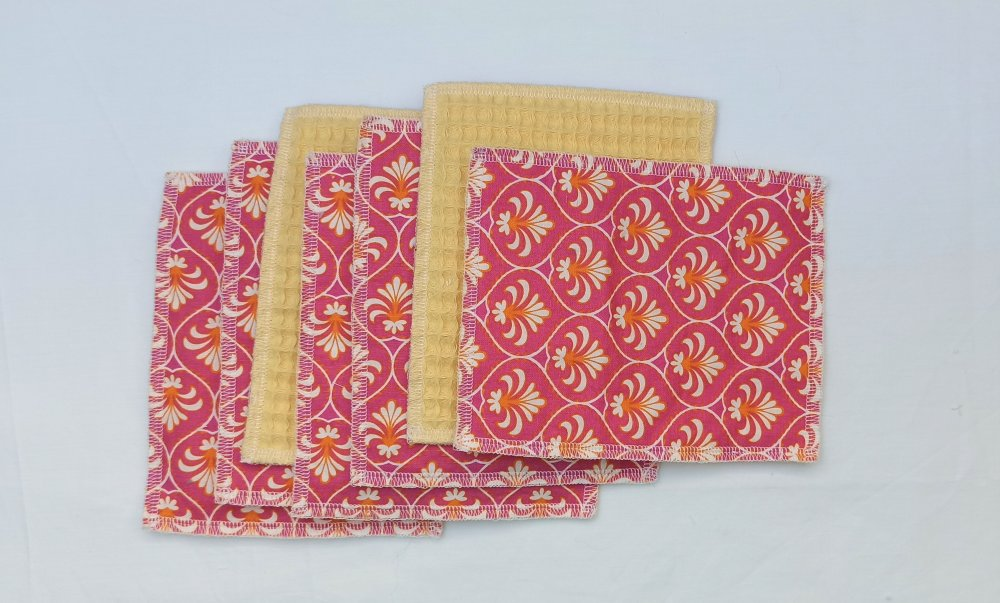 Lot de 7 lingettes en tissu 12,5 X 16 cm, zéro déchet, durable, lavable, réutilisable, 100% coton, économique et écologique