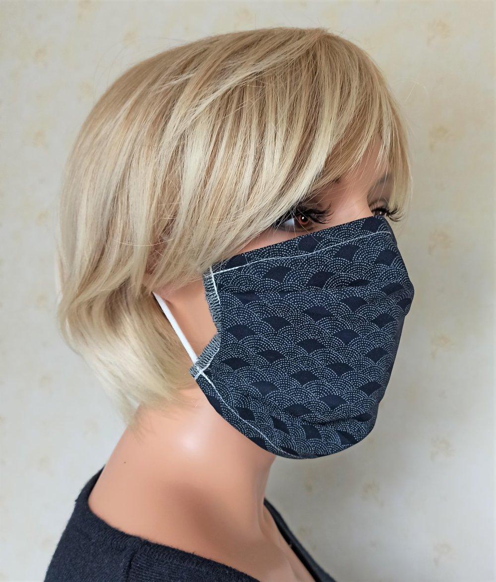 Masque tissu réalisé aux normes AFNOR, lavable et réutilisable,Tissu Japonais vague Seigaiha pointillé