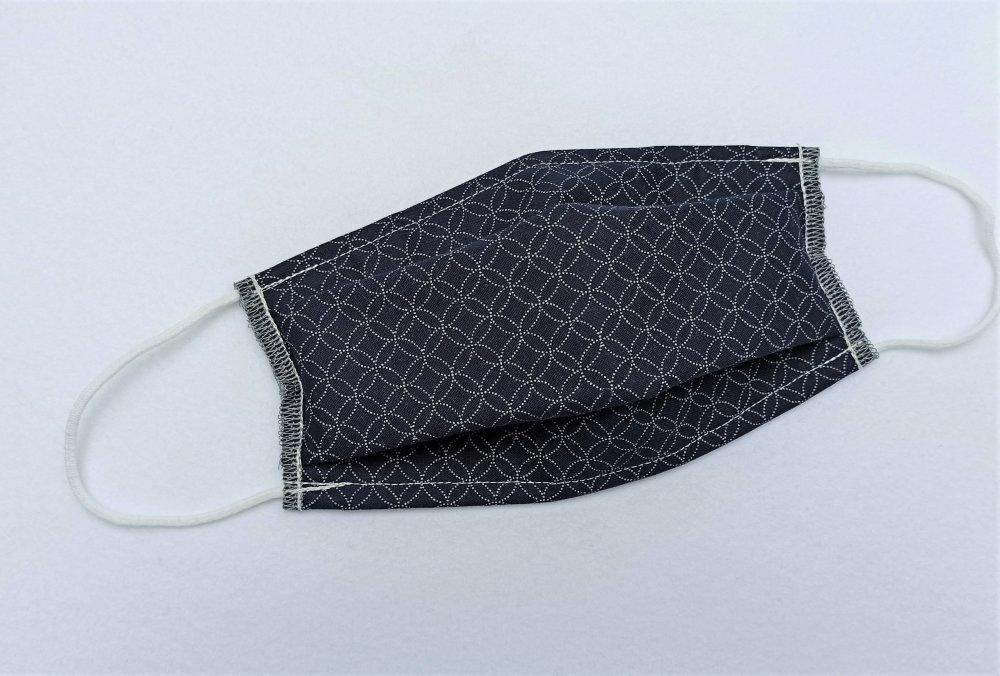 *** nouveau **** Masque tissu réalisé aux normes AFNOR, Tissu Japonais Shippou pointillé fond bleu