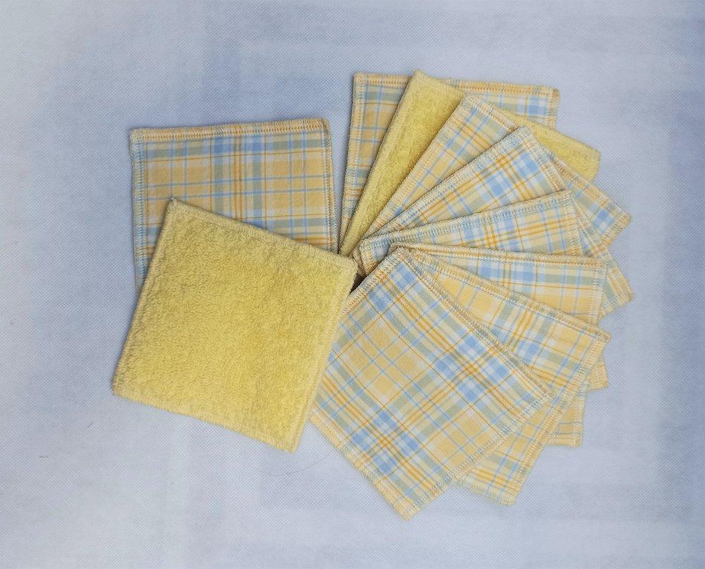 lot de 10 lingettes 10x10cm ,en tissu, zéro déchet, durable, lavable, réutilisable, coton et bambou, économique, écologique