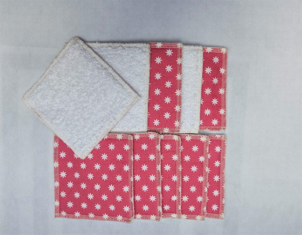lot de 10 lingettes 10x10cm ,en tissu, zéro déchet, durable, lavable, réutilisable, 100% coton, économique, écologique