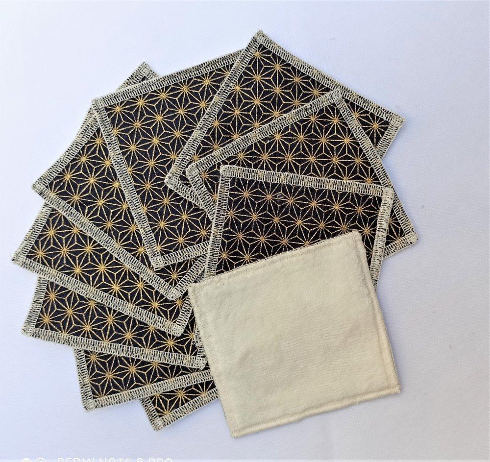 lot de 10 lingettes 10x10cm ,en tissu japonais, zéro déchet, durable, lavable, réutilisable, coton et bambou, économique, écologique