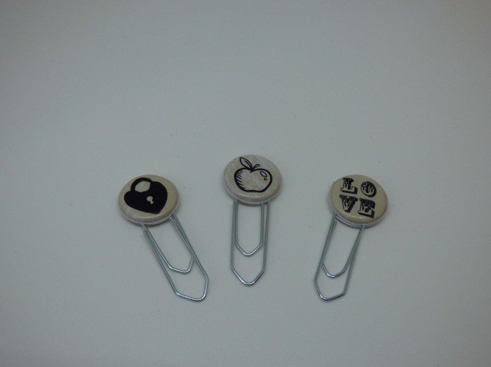 """lot  de 3 paper clips thème """"AMOUR"""""""