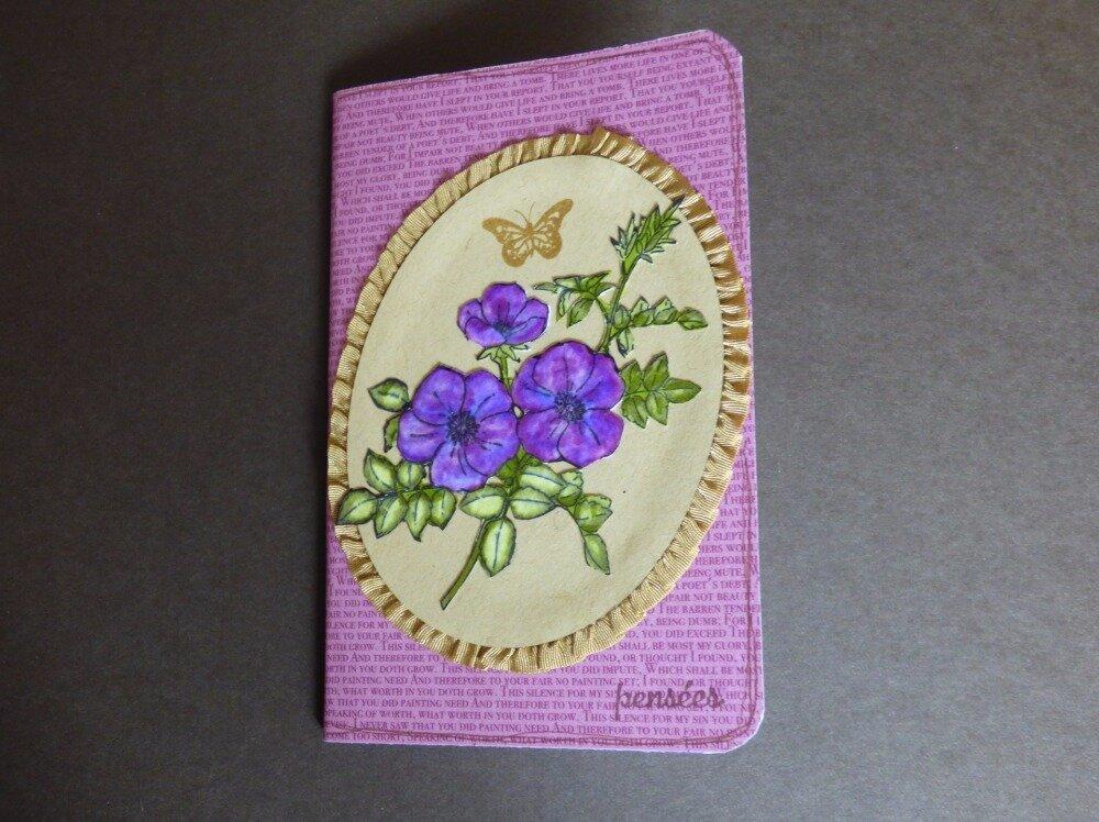 """Carnet décoré """"fait main"""", thème fleuri violet"""