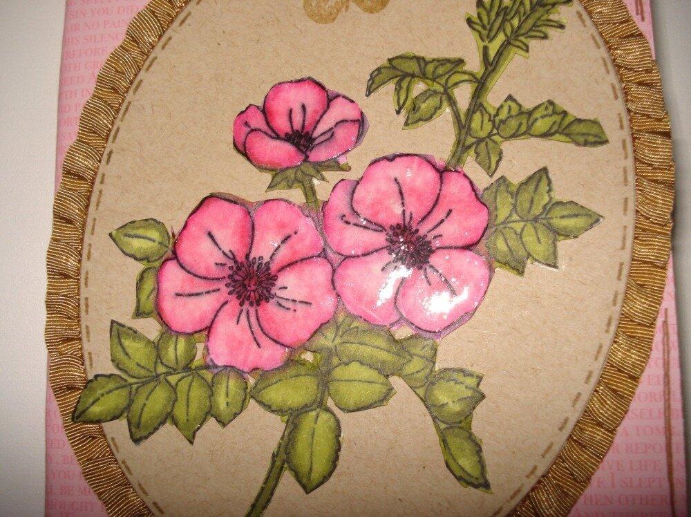 """Carnet décoré """"fait main"""", thème fleuri rose"""
