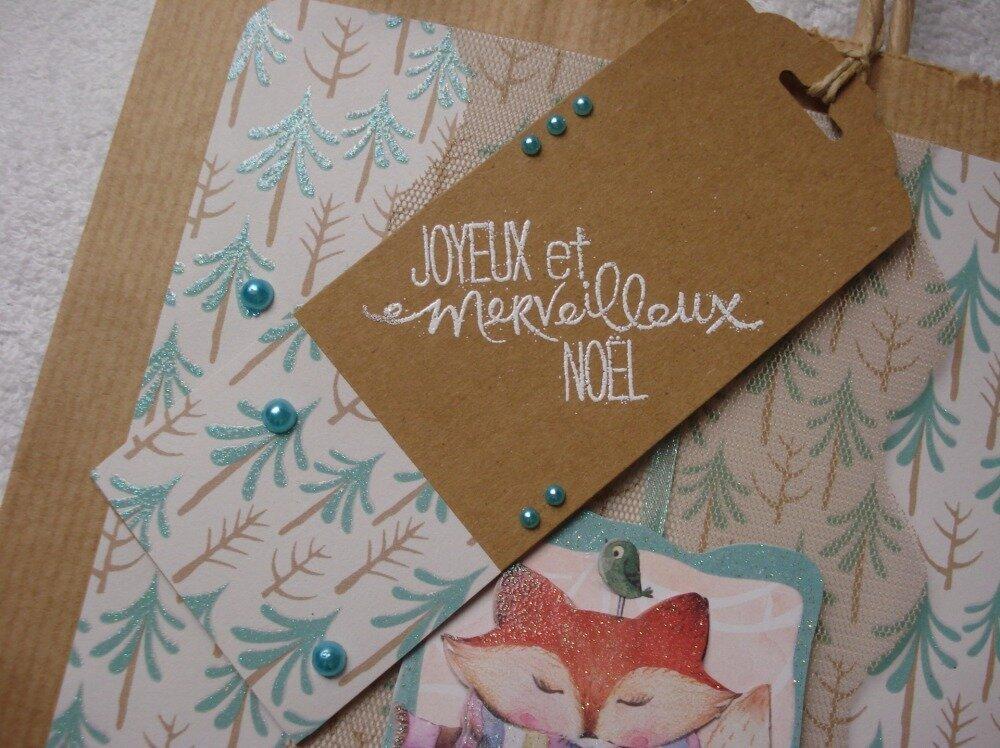 """NOEL : sac cadeau en papier kraft sur le thème """"RENARD"""""""