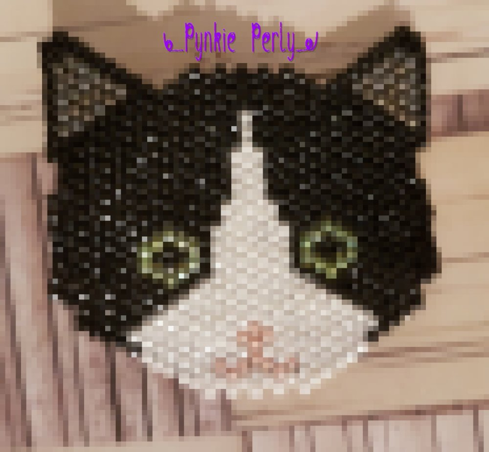 "Broche ""Chat noir et blanc"" en perles MIYUKI"