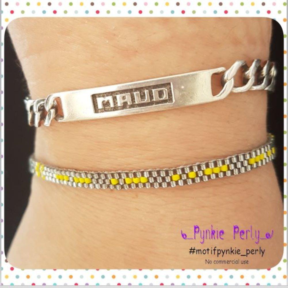 Bracelet à message code morse en perles MIYUKI