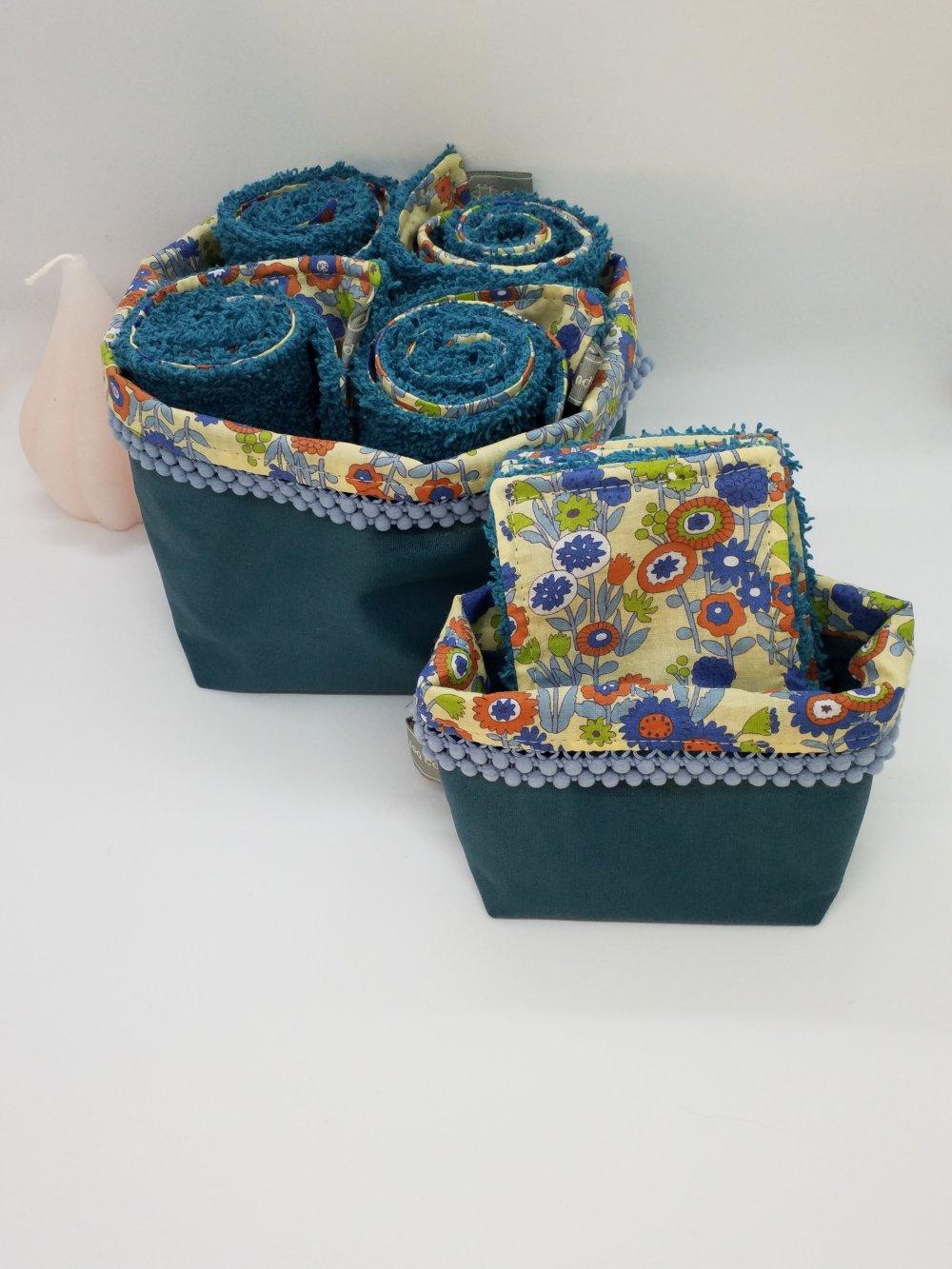 Ensemble Panière de 4 essui mains d'invités et lingettes lavables