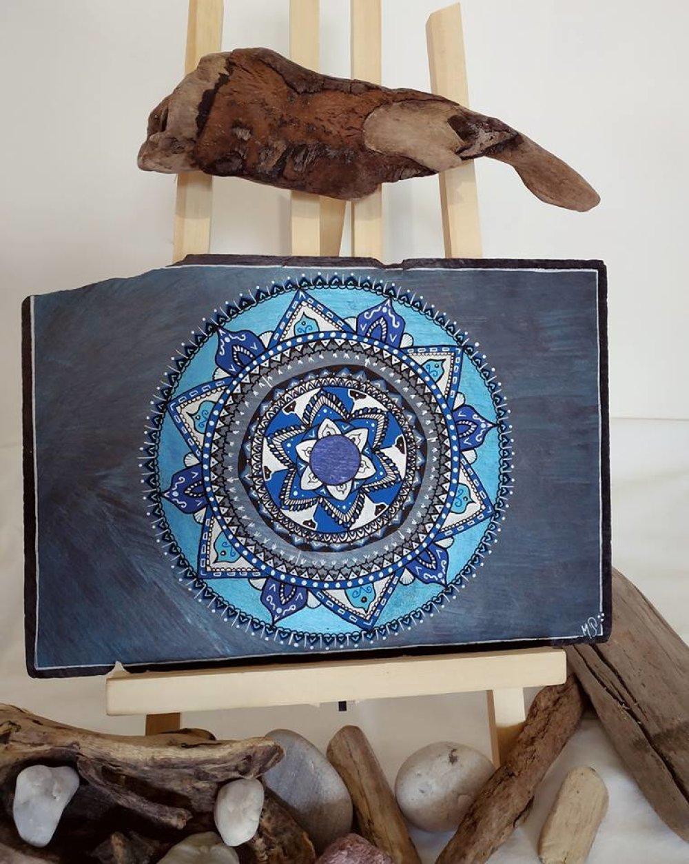 Ardoise mandala Iles bleues