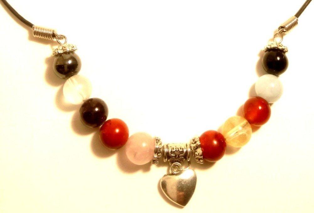 Collier avec les pierres de votre signe du zodiaque et un breloque coeur