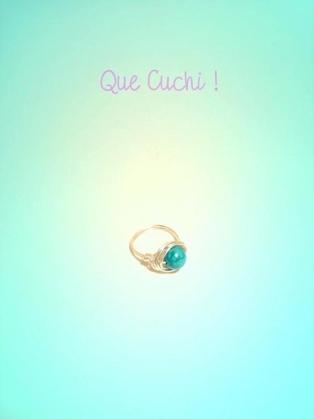 Bague sur mesure avec du fil d'argent et une perle de Turquoise