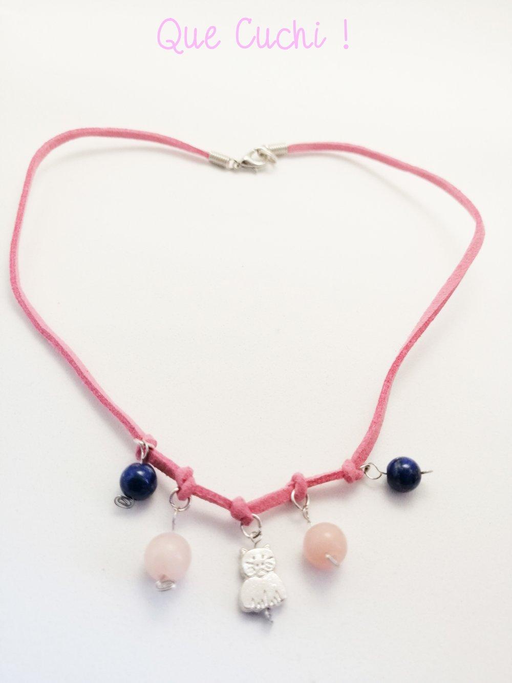 Collier cordon chat avec du Lapis-lazuli et Opale rose