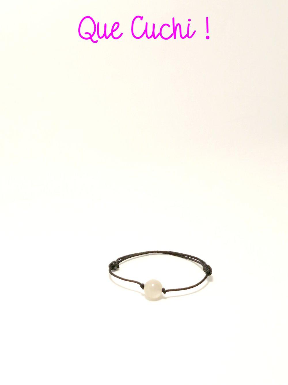 Bracelet élastique réglable avec perle de Pierre de Lune blanche