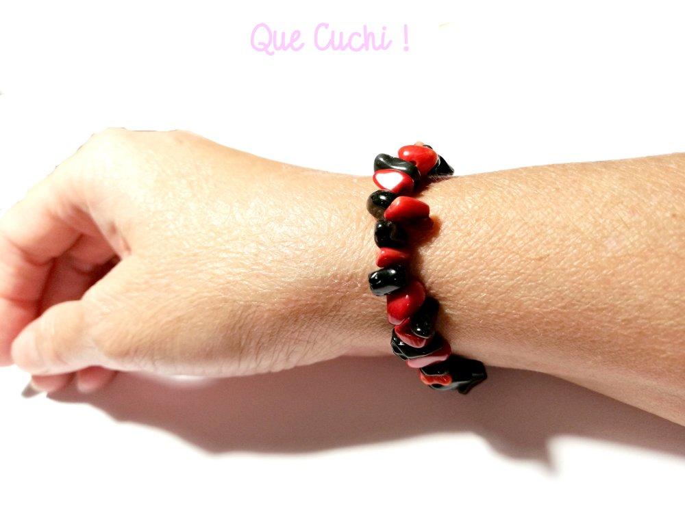 Bracelet baroque chips Onyx et Gorgone rouge