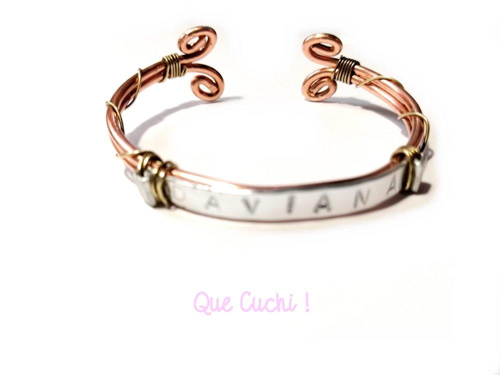 Bracelet prénom en cuivre, laiton et aluminium