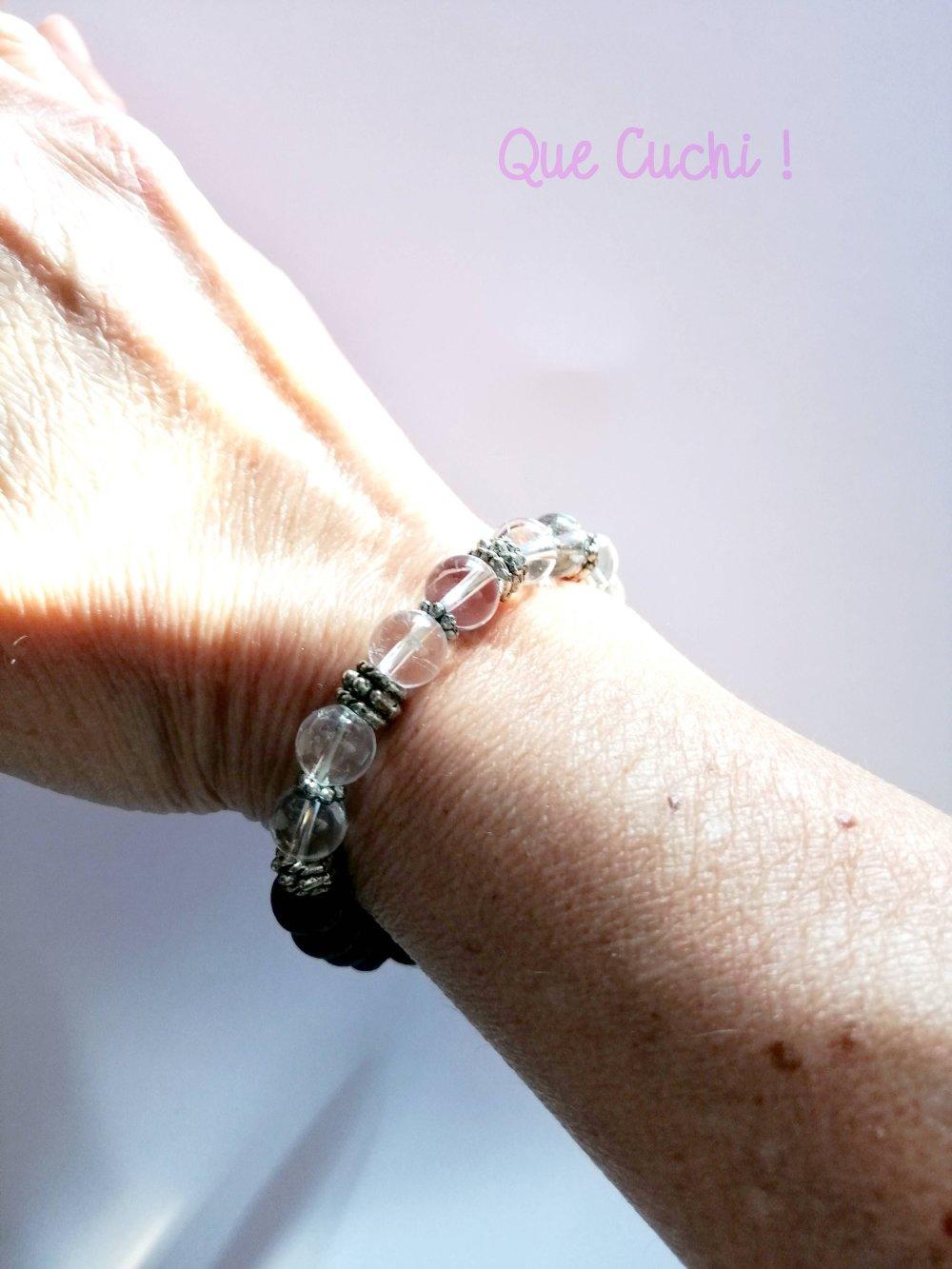 Bracelet perles de lave et Cristal de roche