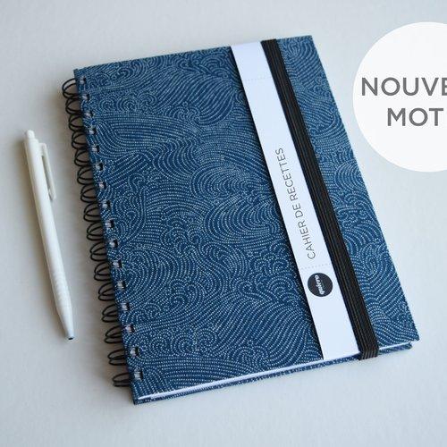 Cahier de recettes - tissu japonnais - vagues, pointillé, bleu