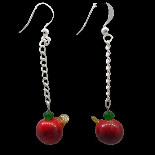 Boucle d'oreille pommes rouges