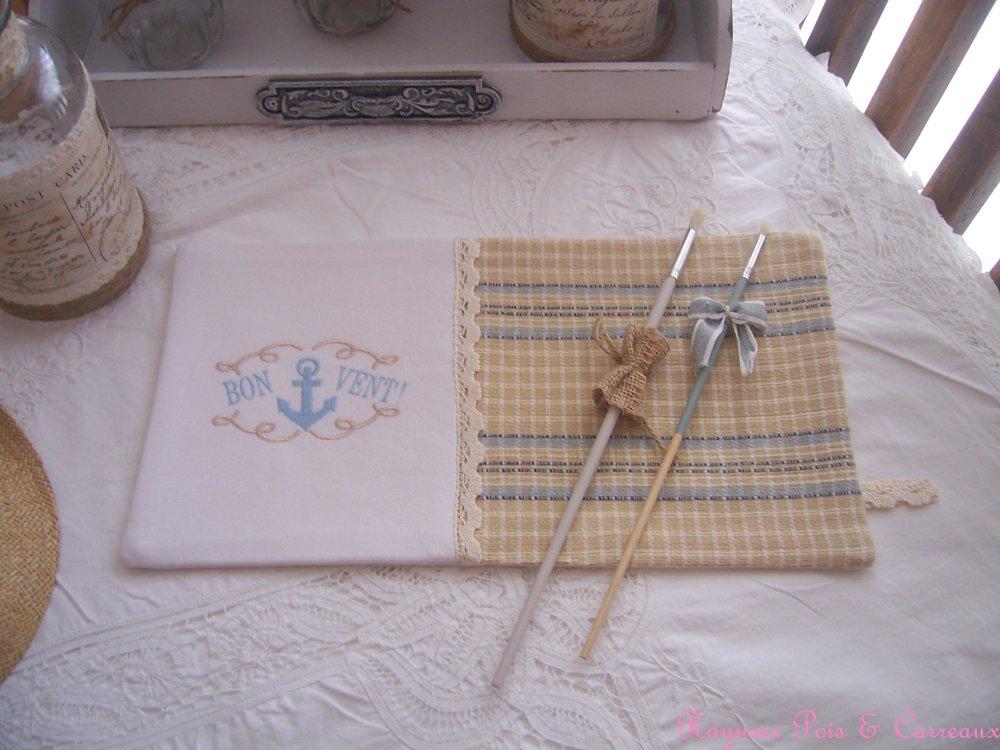 """*** Collection Côté Mer ***  Long Set de table décoratif  """" Bon Vent """""""