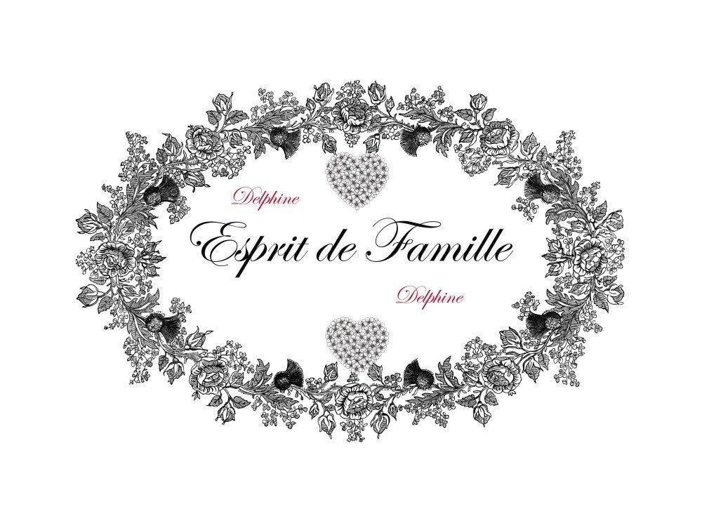 """Transfert à coudre """" Esprit de Famille"""" GF"""