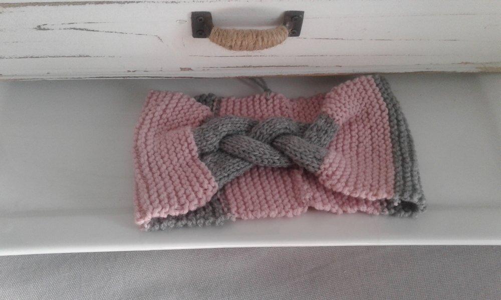 Bandeau noeud cache-oreilles en laine tresse serrée