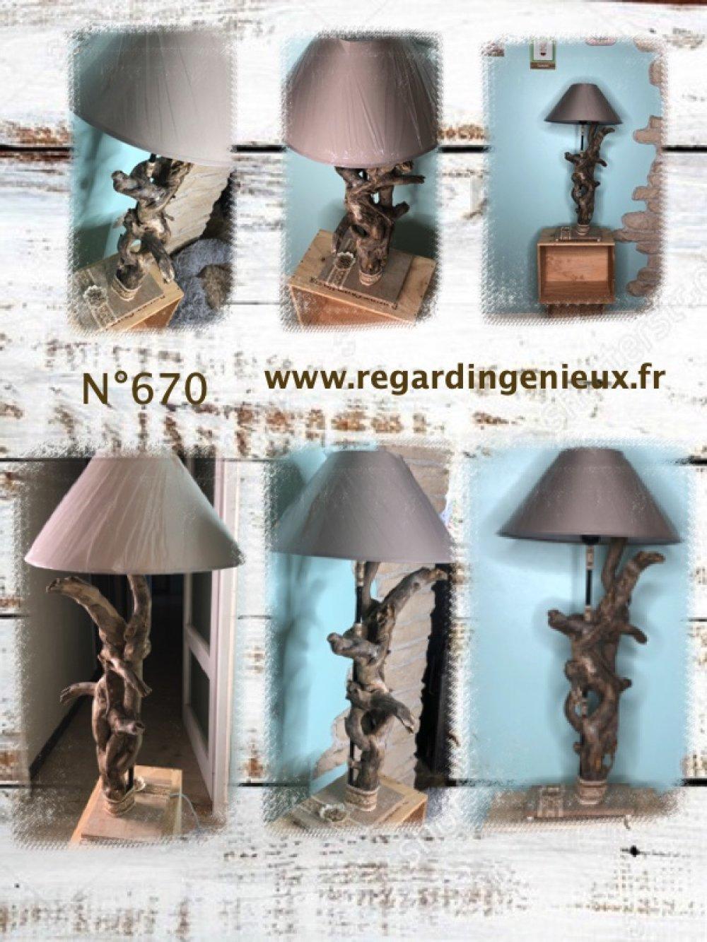 Lampe n°670 en bois flotte. Fabrication artisanale.