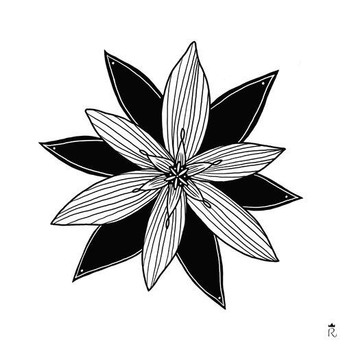 Grande carte fleur noire et blanche