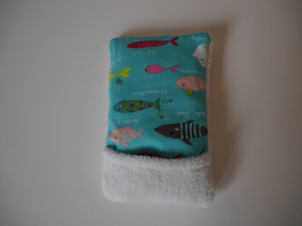 Couverture bébé jersey imprimé/doudou et sa mini bouillotte au riz