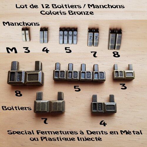 12 ensembles bronze , boitier + manchon no 5 pour fermeture eclair separable a glissiere métal ou plastique