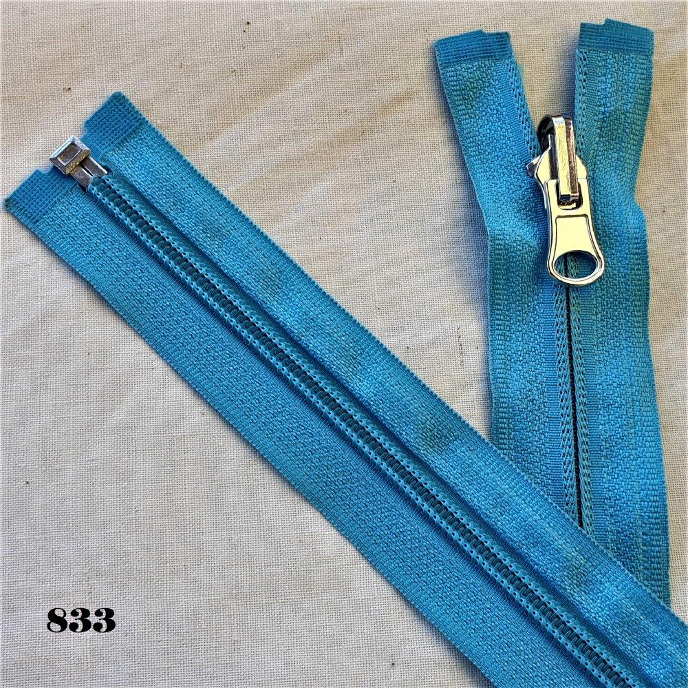 Fermeture Eclair BLEU CYAN 833 , Reversible et Séparable Spirale 6 mm , Longue de 40 , 45 , 50 , 55 , 60 , 65 , 70 , 75 , 80 , 85 cm