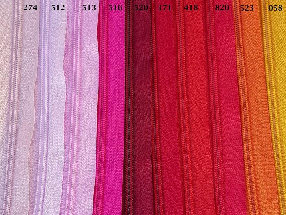 Fermeture Eclair ROSE FUCHSIA 516 , Reversible et Séparable Spirale 6 mm , Longue de 40 , 45 , 50 , 55 , 60 , 65 , 70 , 75 , 80 , 85 cm
