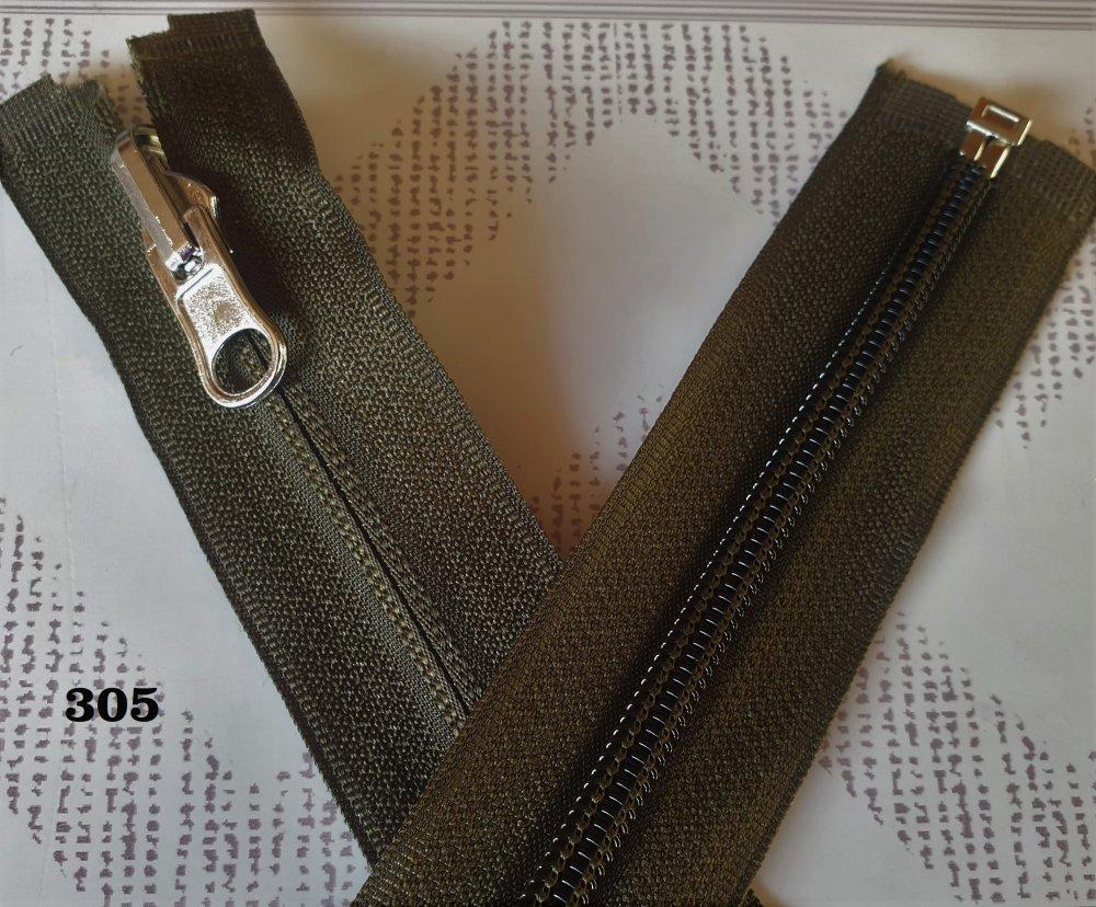 Fermeture Eclair  KAKI Foncé 305 , Reversible et Séparable Spirale 6 mm , Longue de 40 , 45 , 50 , 55 , 60 , 65 , 70 , 75 , 80 , 85 cm