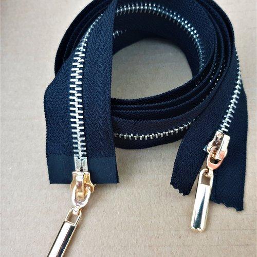 Grande fermeture sépararable noire ou marine , glissiere métal argenté , double curseurs , sur mesure 135 cm maxi
