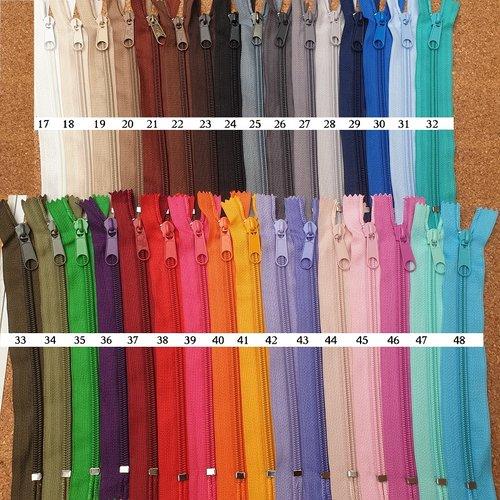Petite fermeture pour sacoche ou poche interieure 25 cm / 32 coloris