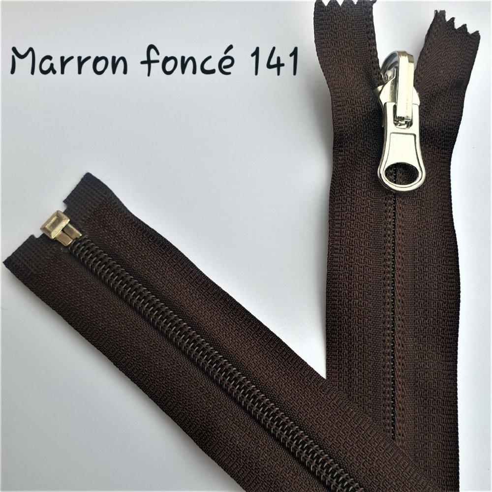 Fermeture Eclair MARRON Foncé 141 , Reversible et Séparable Spirale 6 mm , Longue de 40 , 45 , 50 , 55 , 60 , 65 , 70 , 75 , 80 , 85 cm
