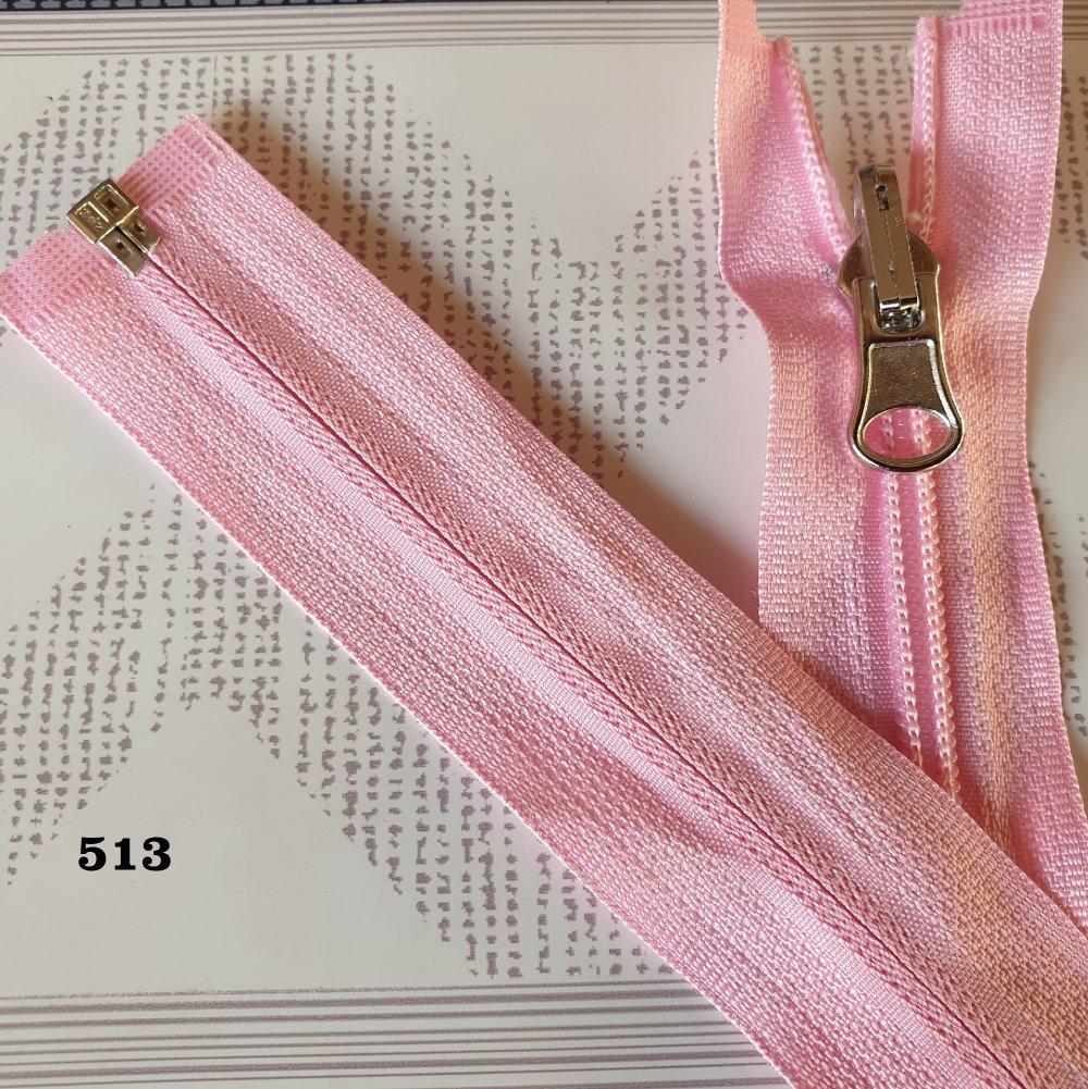 Fermeture Eclair ROSE 513 , Reversible et Séparable Spirale 6 mm , Longue de 40 , 45 , 50 , 55 , 60 , 65 , 70 , 75 , 80 , 85 cm