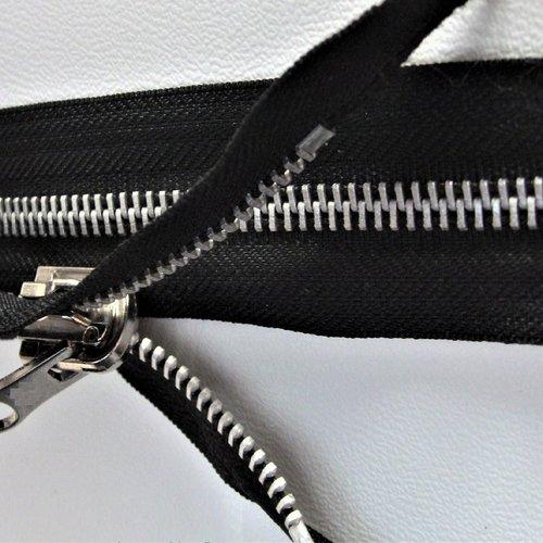 Fermeture détachable noire sur mesure de 66 à 100 cm réversible , glissiere métallique nickel free