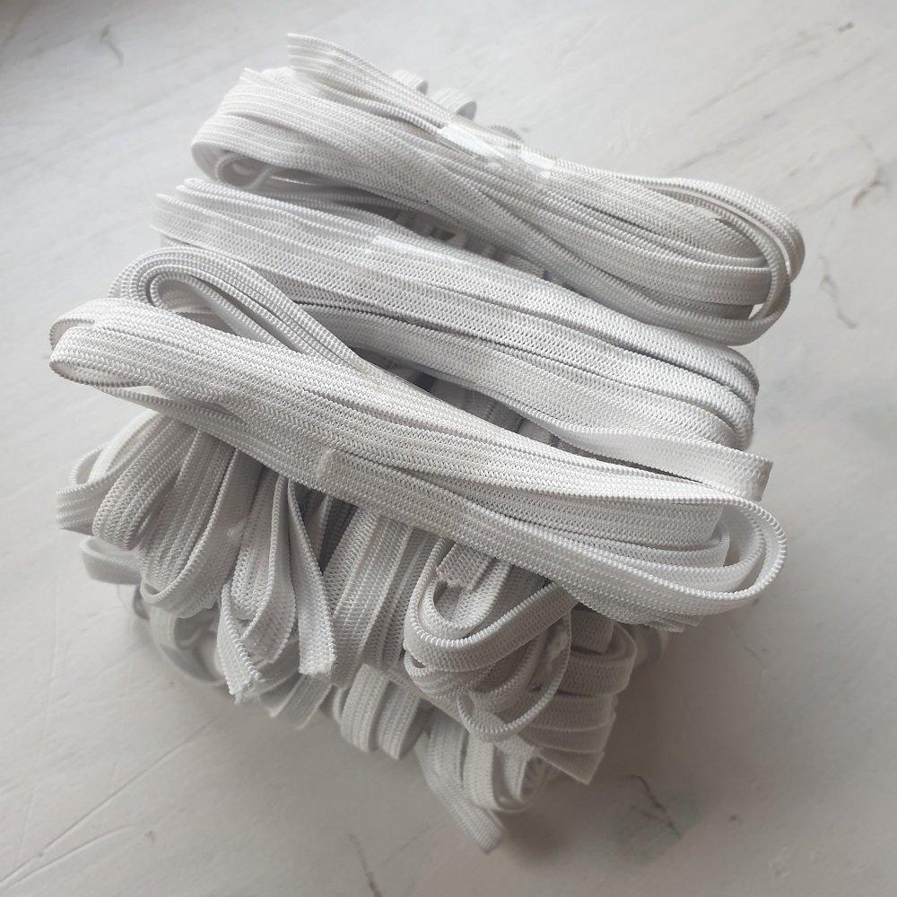 Elastique souple blanc special masque vendu au mètre , largeur 8 mm X epaisseur 1 mm