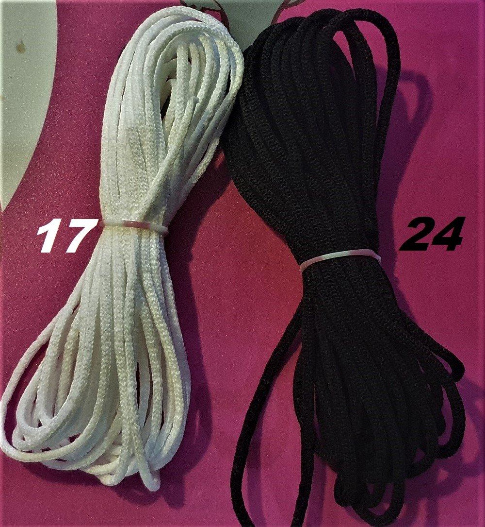 Cordon Elastique au mètre blanc 2.5 mm ou noir 3 mm , doux et souple specialement conçu pour masque