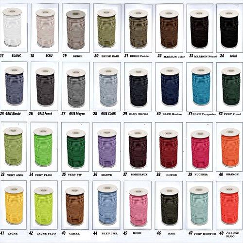 Cordon elastique rond 2 mm , elastic de couleur pour pantalon , short ... 32 coloris disponibles