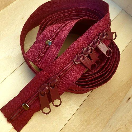 1.5mts+6curs-85coloris , zip sac x 1,50 metres + 6 curseurs , fermeture à glissiere nylon 6 mm , double curseurs dos à dos