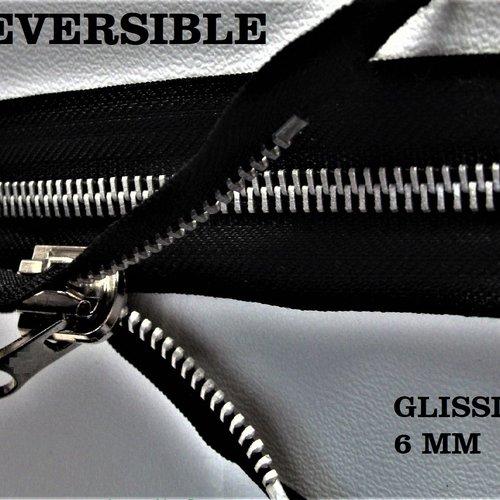 Fermeture séparable réversible noire , glissière métal nickel free 6 mm sur mesure maxi 65 cm