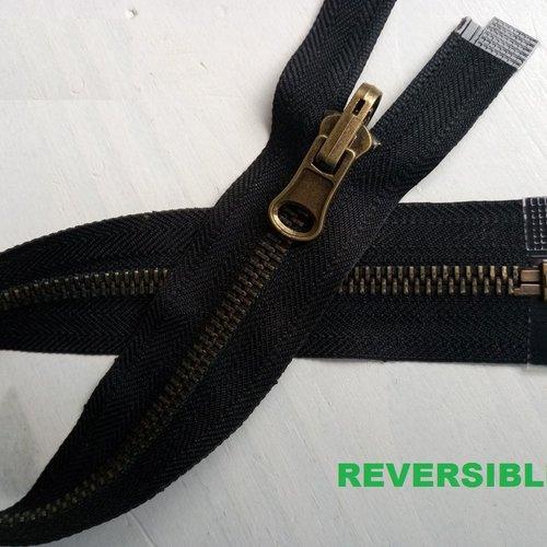 Fermeture noire à glissiere métal bronze reversible 6mm sur mesure de 20 à 65  cm