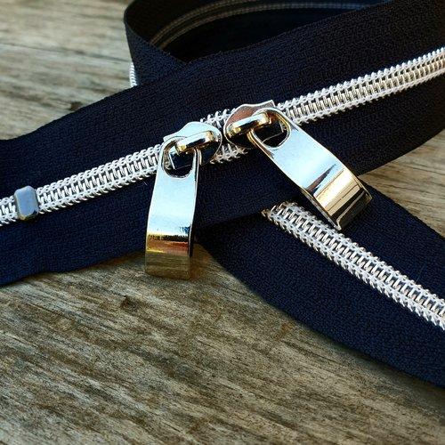 N6 noir argenté 35-120cm , zip noir et argenté sur mesure ref 25 , fermeture à glissiere métalisée , double curseurs argent special sac