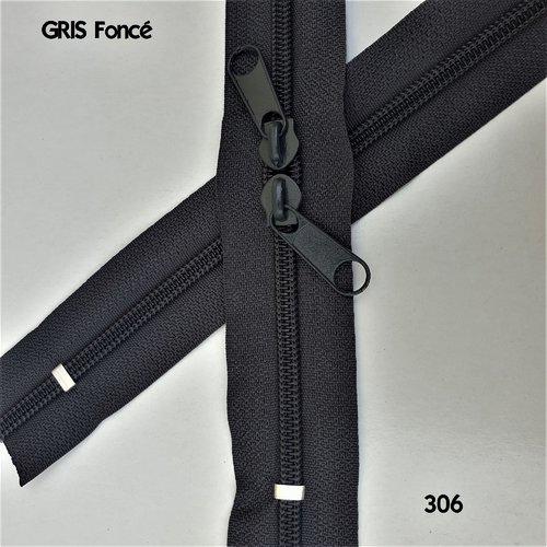 N6o 20-85cm gris foncé , fermeture gris special sac à glissiere spirale 6 mm sur mesure , double curseurs dos à dos
