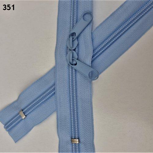 N6o 20-85cm bleu ciel , fermeture special sac spirale 6 mm sur mesure à double curseurs