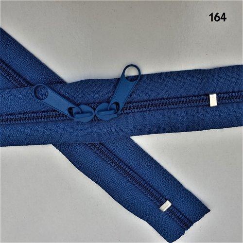 N6o 20-85cm bleu foncé , fermeture special sac bleue spirale 6 mm sur mesure à double curseurs